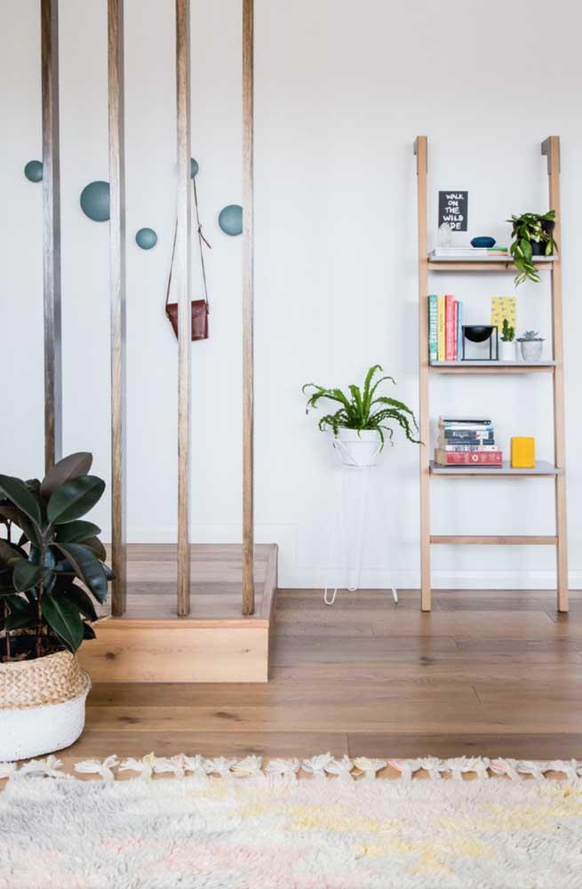 Estante escada no corredor apoiando livros e plantas