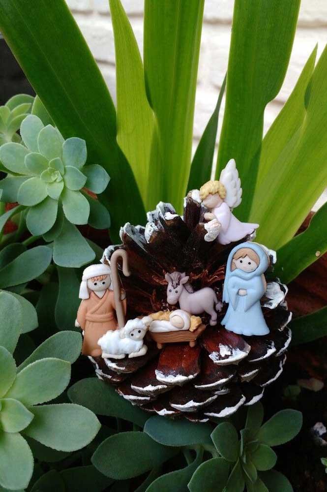 Mini presépio de biscuit montado sobre a pinha e ao lado de diversas suculentas
