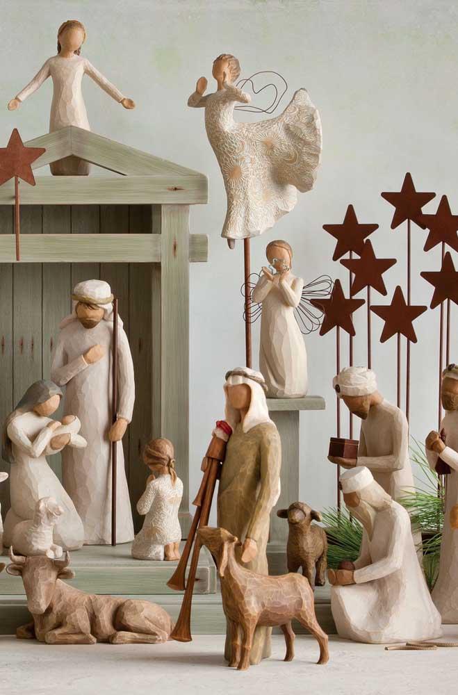 Anjos, estrelas, animais: não falta nada nesse presépio