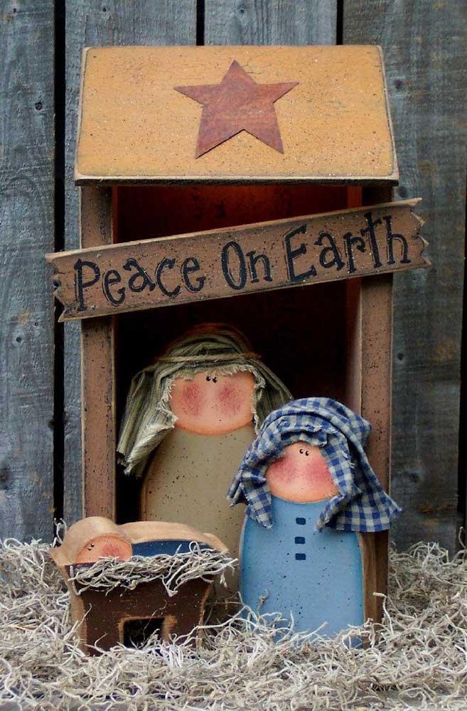 Aqui, o presépio de natal traz uma bela mensagem: paz na terra