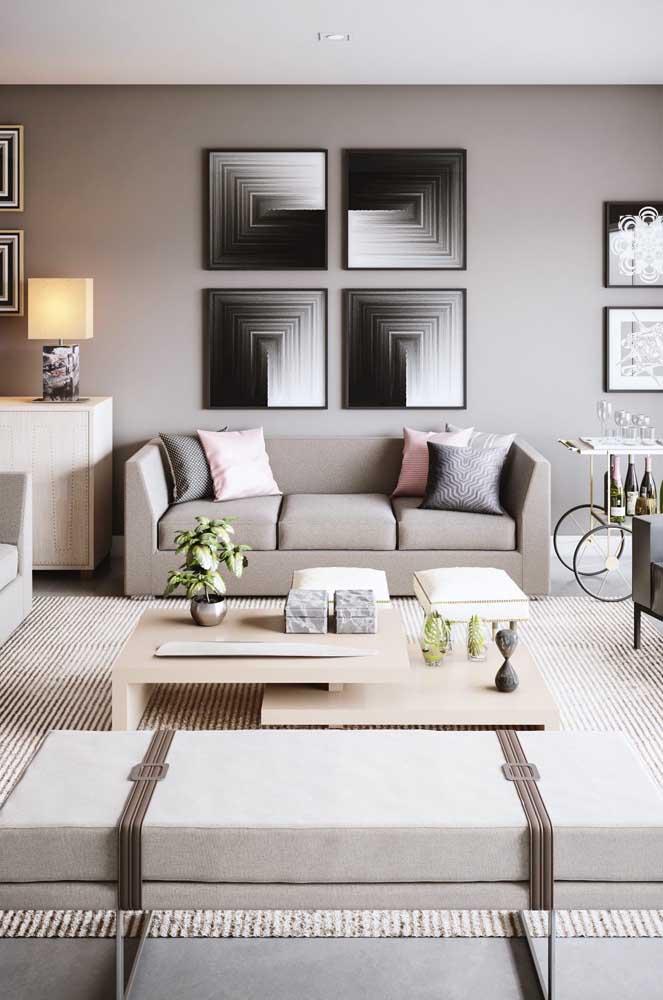 Paleta harmoniosa e neutra para essa sala de estar