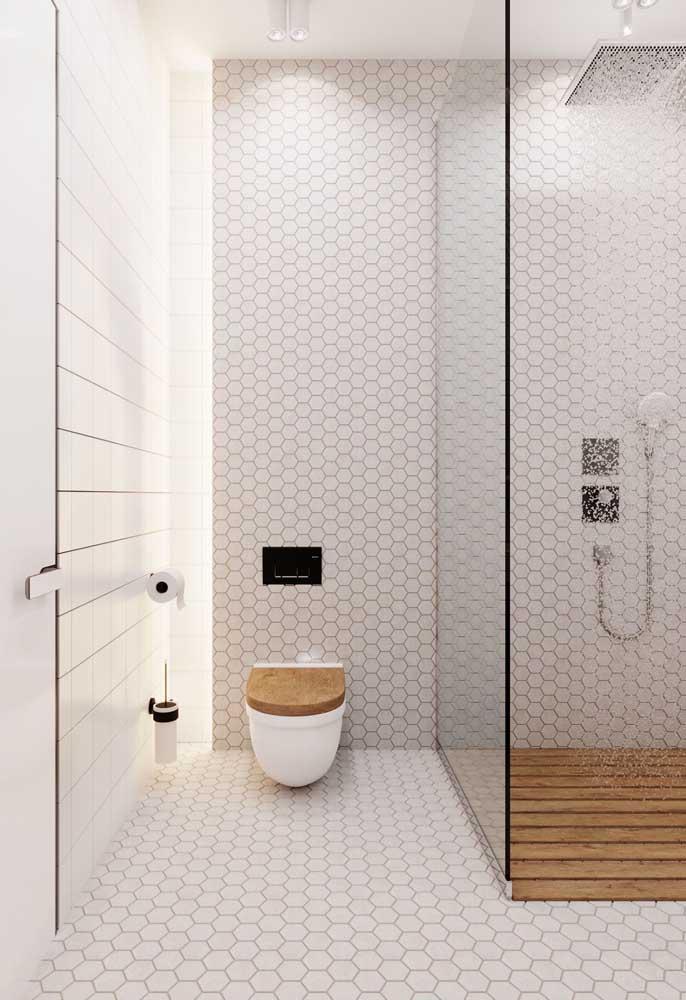 Banheiro clean e moderno todo em tons de Off White