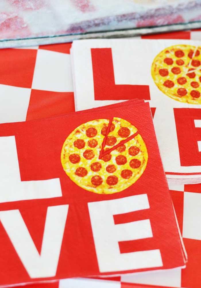 Os guardanapos também vêm com inspiração de pizza