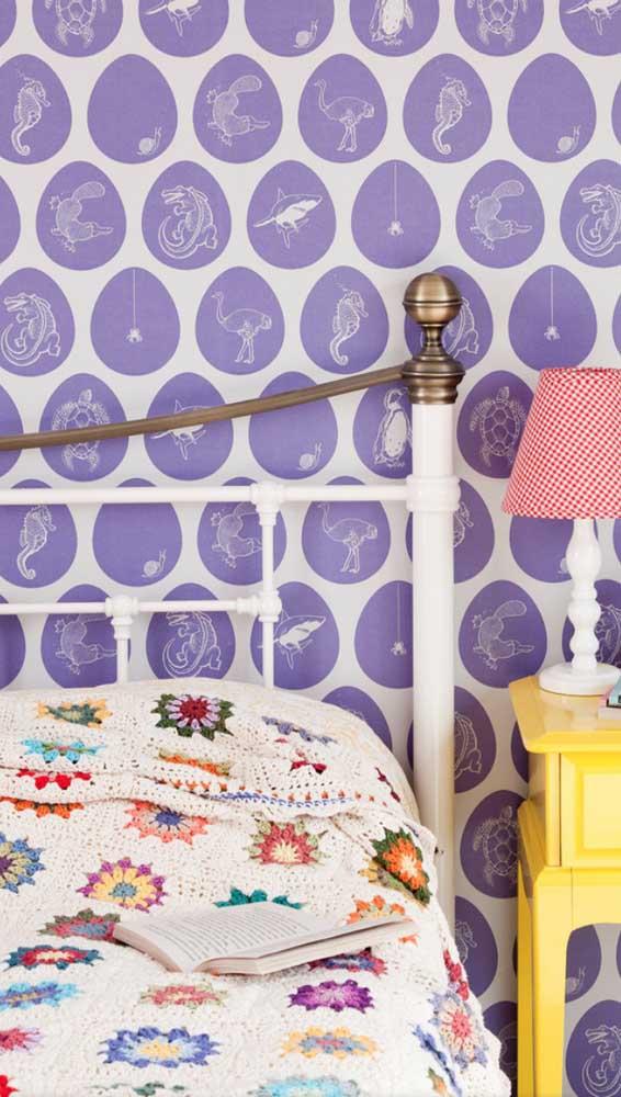 Manta de crochê patchwork para forrar a cama