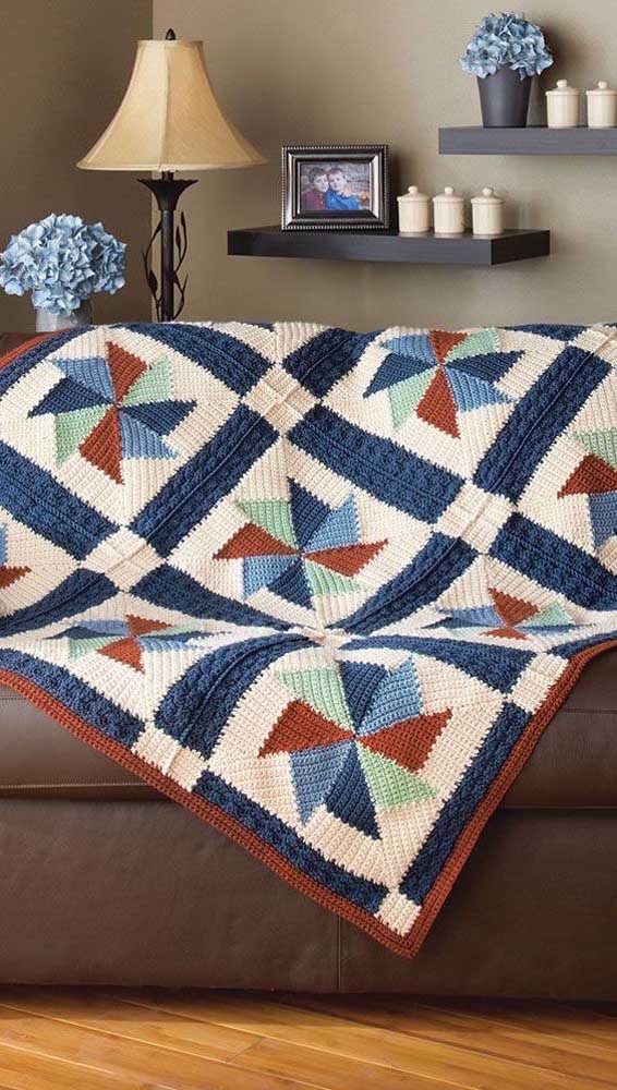 Sugestão de estampa para a manta de crochê: cataventos