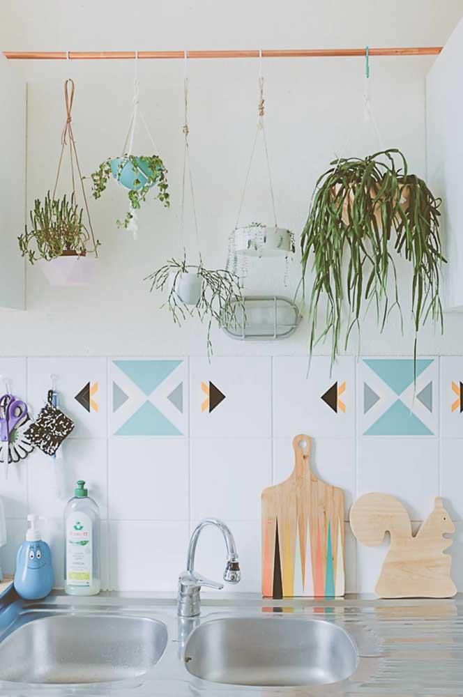 Nessa cozinha o suporte para as plantas é um varão de cortina