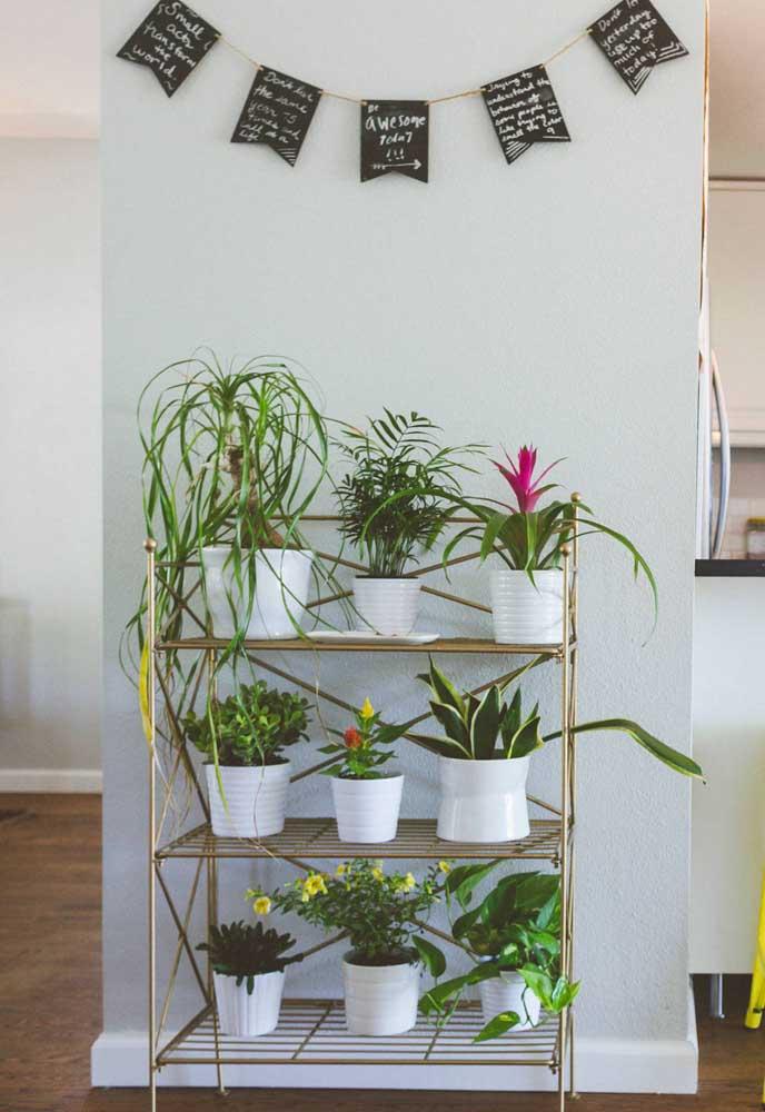 Em decorações mais clássicas, a estante de metal pode ser usada como suporte para as plantas