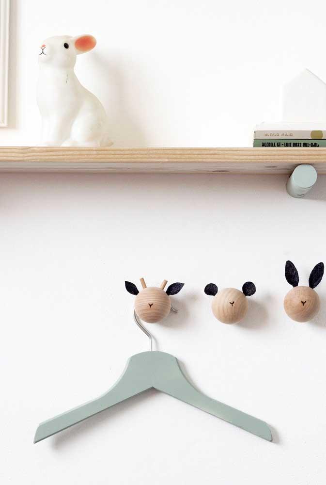 Ou quem sabe você prefira carinhas simpáticas de animais nos seus ganchos de parede?