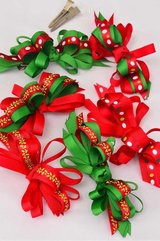 Laços de gorgurão para decoração natalina. As cores vermelho e verde não podem faltar nessa proposta