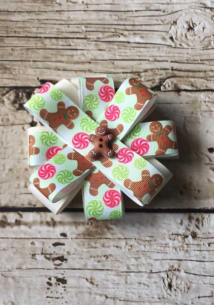 Laço de gorgurão infantil com estampa de biscoitinhos natalinos