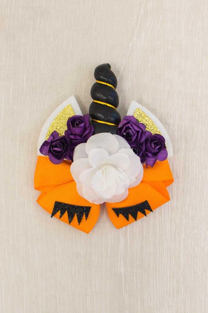 Laço de gorgurão inspirado em unicórnio e Halloween