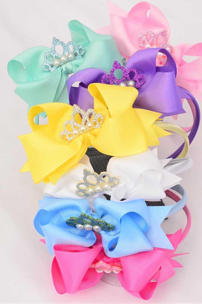 Laços de gorgurão adornando tiaras de cabelo. Destaque para a aplicação de coroa com mini pérolas