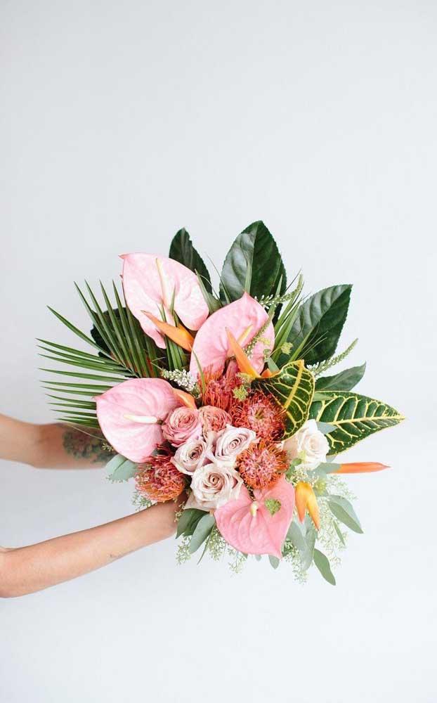 Buquê tropical e inspirado nas últimas tendências do Pinterest