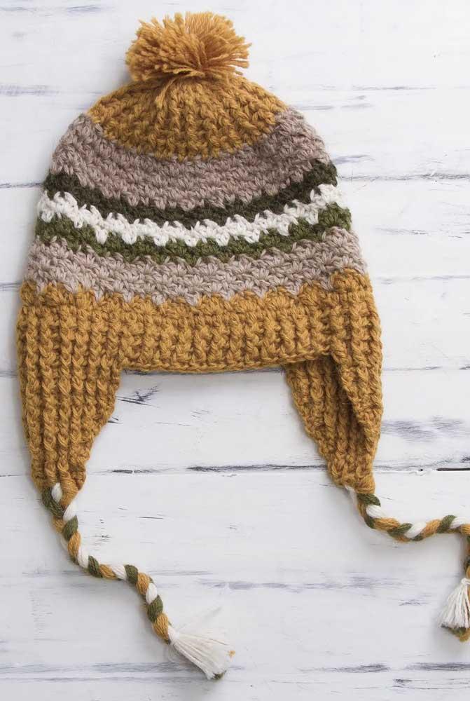 Capriche na composição de cores da touca de tricô