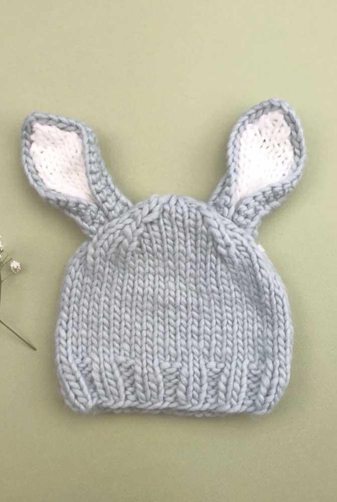 Um coelhinho para a touca de tricô