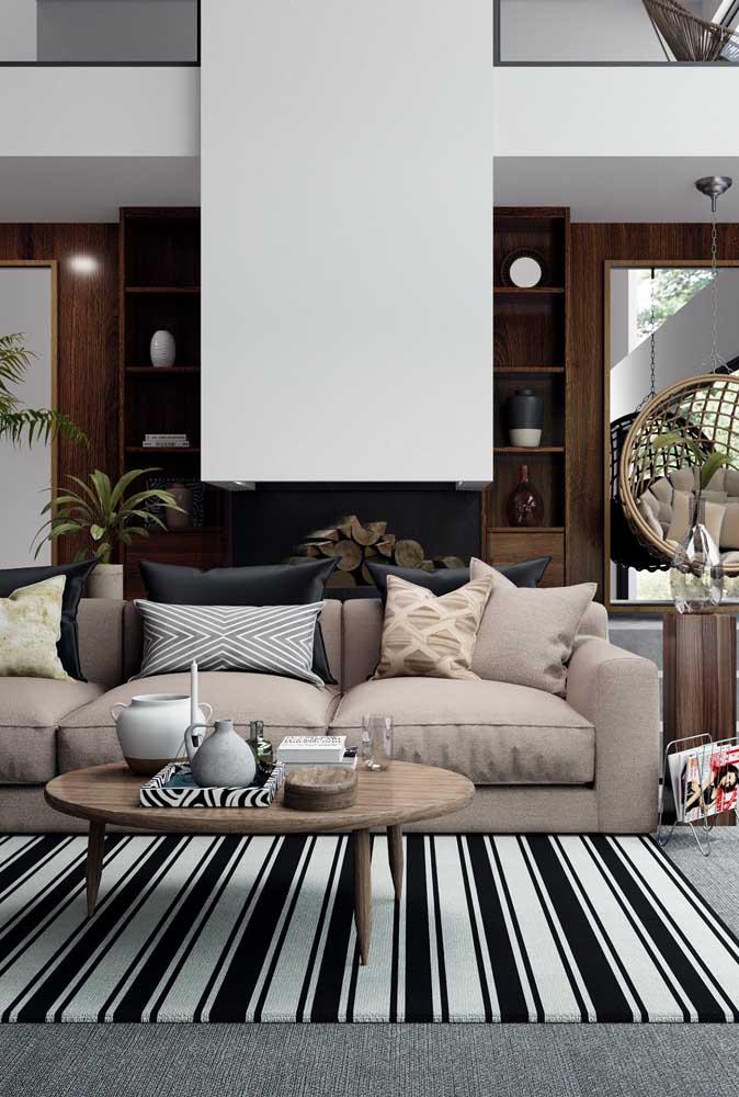 Tapete geométrico com listras para a sala de estar clássica e sóbria