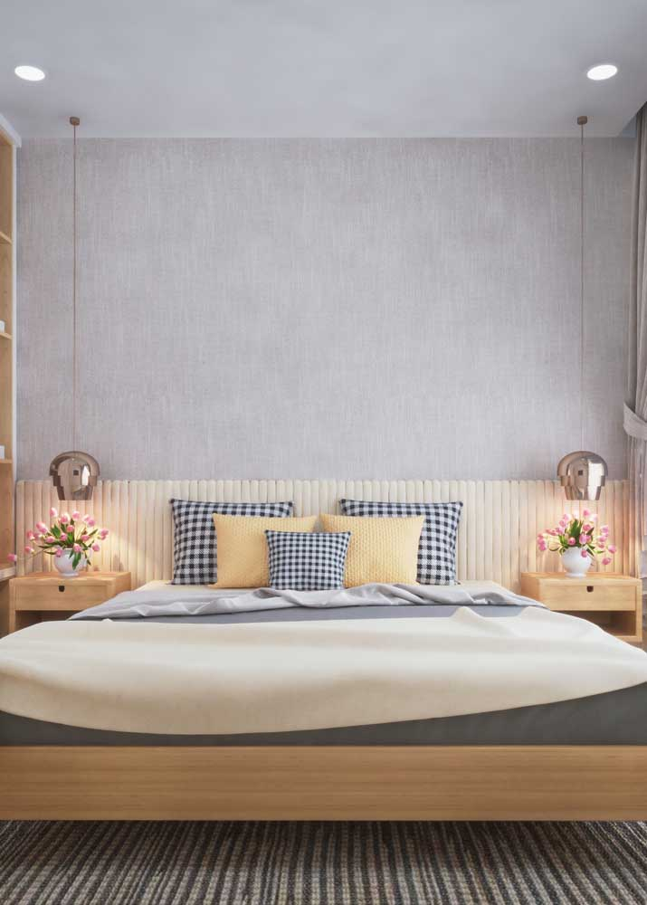 Textura delicada e suave para compor a parede da cabeceira da cama