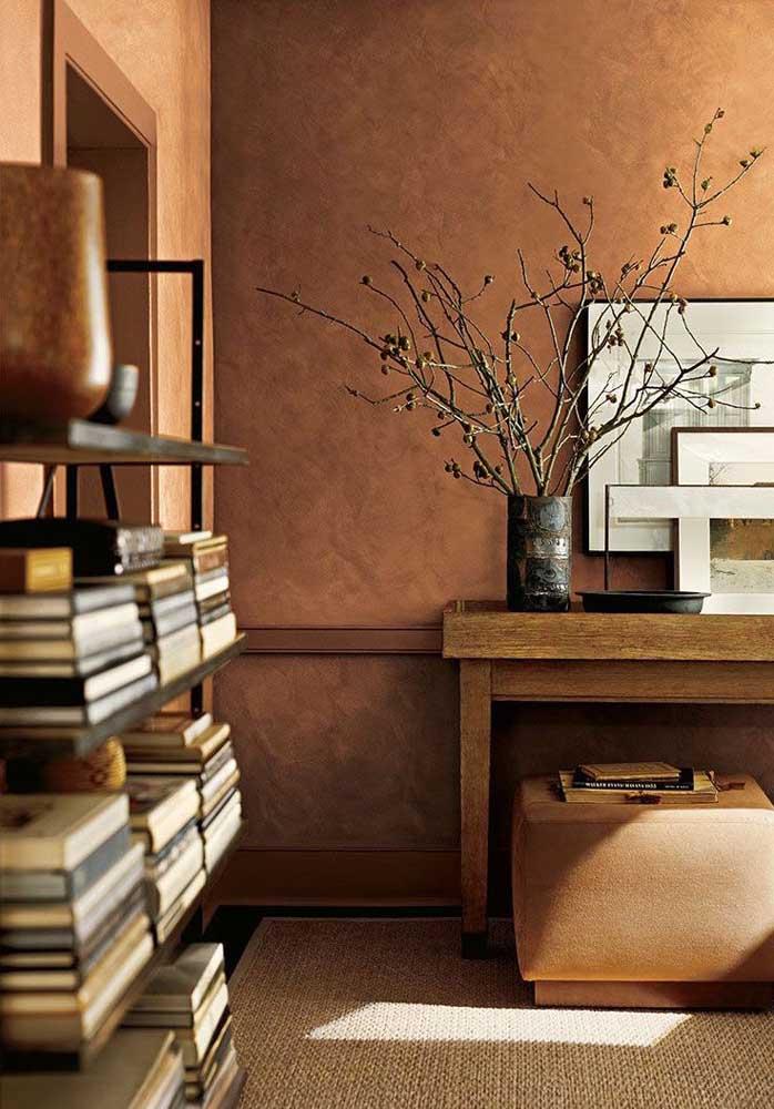 Nada como a combinação entre textura de parede e cores quentes para trazer conforto e aconchego para dentro de casa