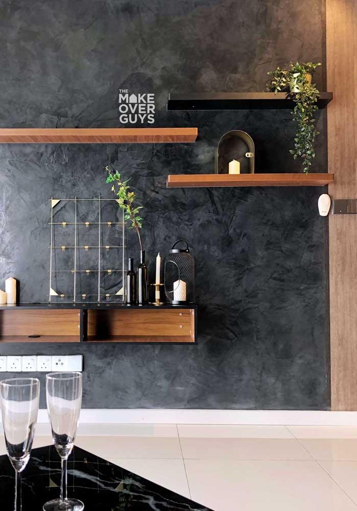 Textura espatulada preta para a sala moderna