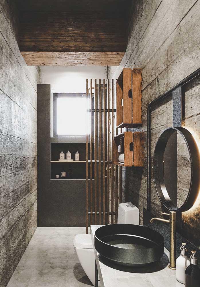 O banheiro também merece uma textura de parede