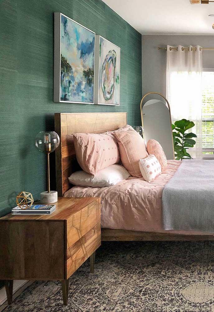 A elegância do verde para a parede texturizada