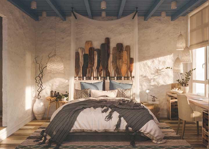 Deixe o quarto mais acolhedor com uma parede texturizada rústica