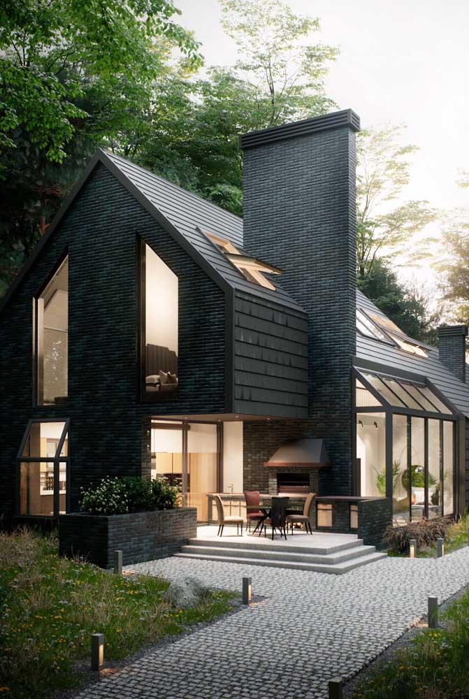 Casa moderna com telhado ecológico