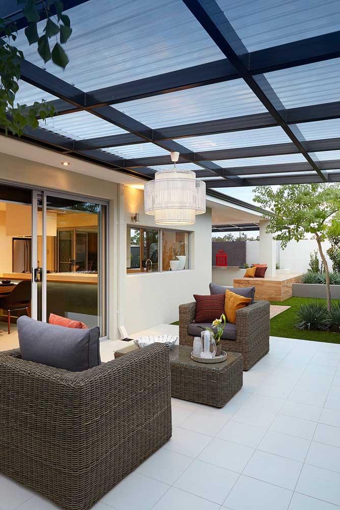 Telhas ecológicas transparentes para área externa da casa