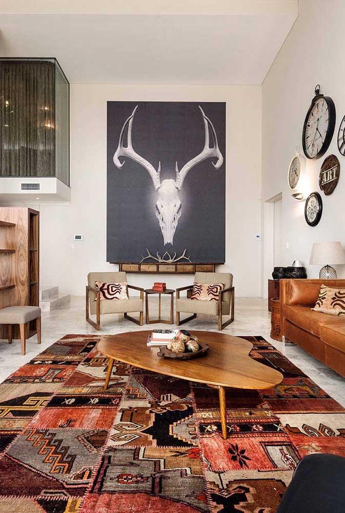 Centro de mesa em estilo rústico para combinar com a decoração étnica da sala de estar