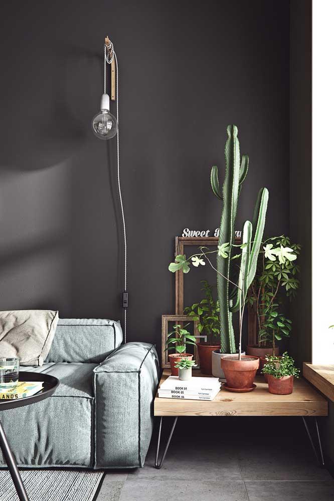 Nessa sala de estar, a mesa de canto recebeu a missão de apoiar os vasinhos de planta