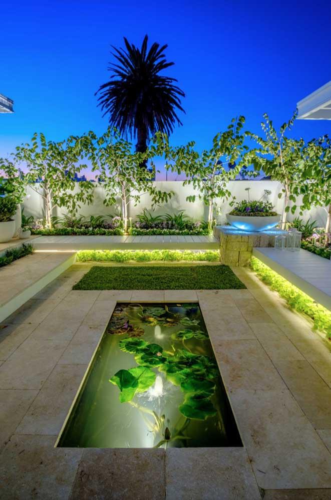 Jardim residencial com mini lago: projeto completo