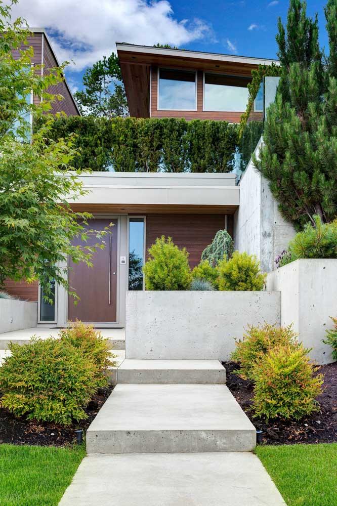 Jardim na entrada da casa. Crie caminhos entre as plantas