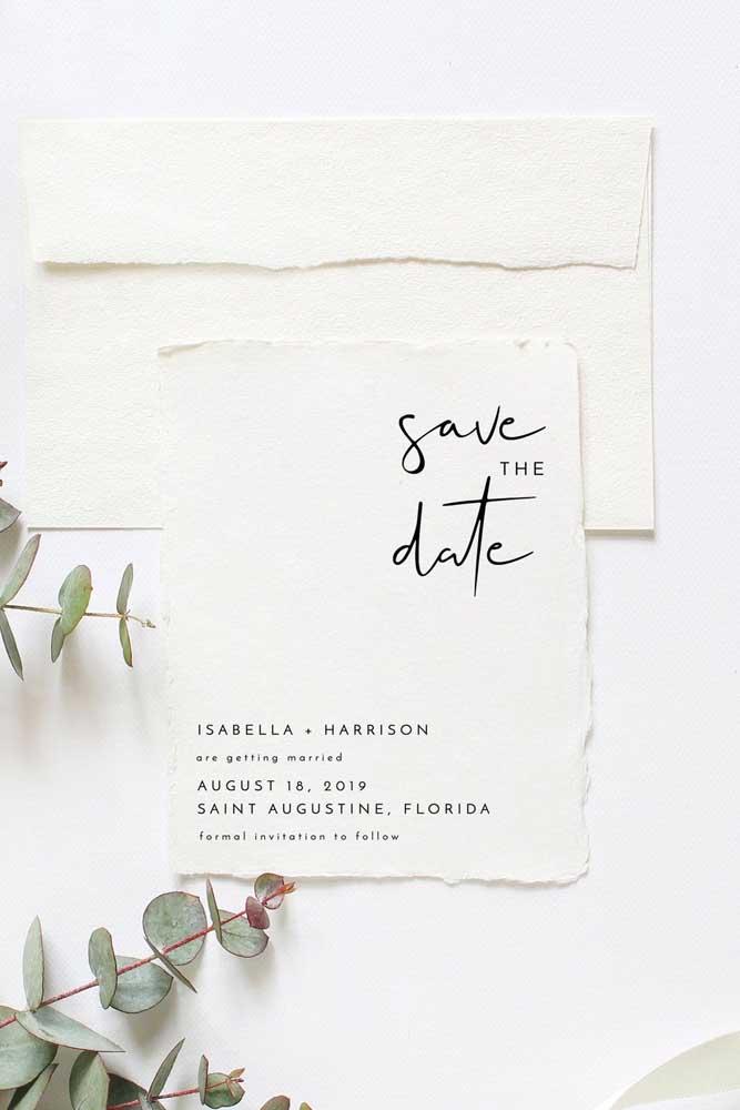 Save the date para casamento em estilo rústico, mas sem deixar a elegância de lado