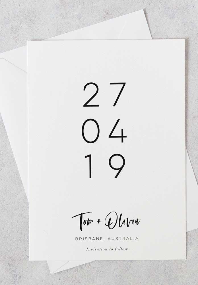 Um modelo de Save the date moderno e minimalista