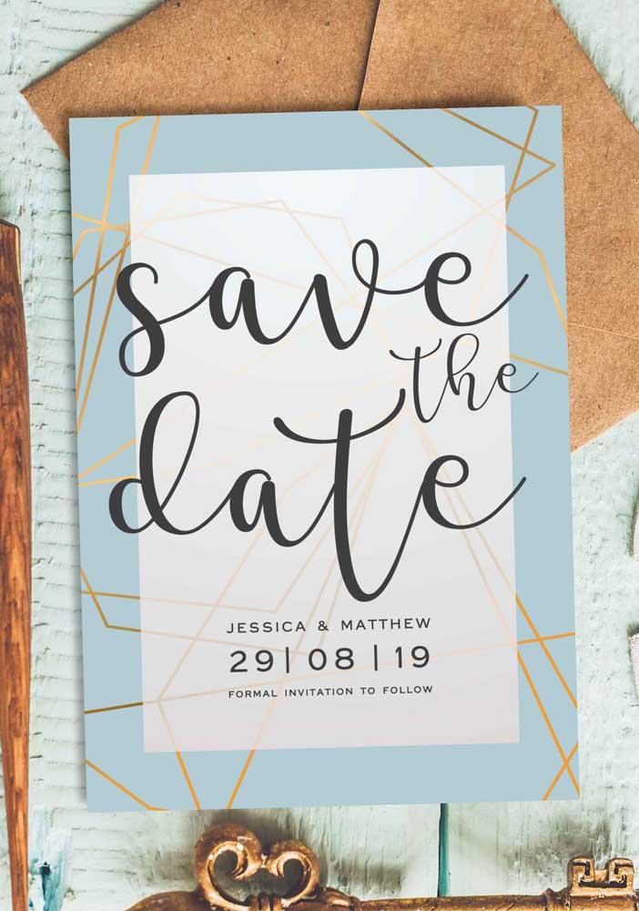Modelo de Save the date impresso para ser distribuído aos convidados. Uma prévia do convite