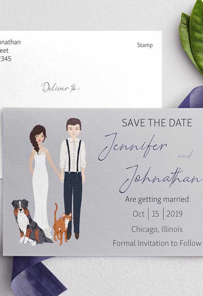 Caricaturas e desenhos dos noivos também são uma boa pedida para estampar o Save the date de modo descontraído e original