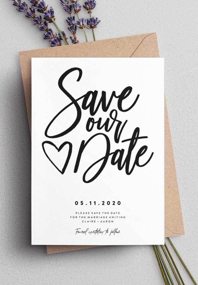 Informações claras, rápidas e objetivas para o Save the date. Deixe os detalhes da cerimônia e da recepção para o convite oficial