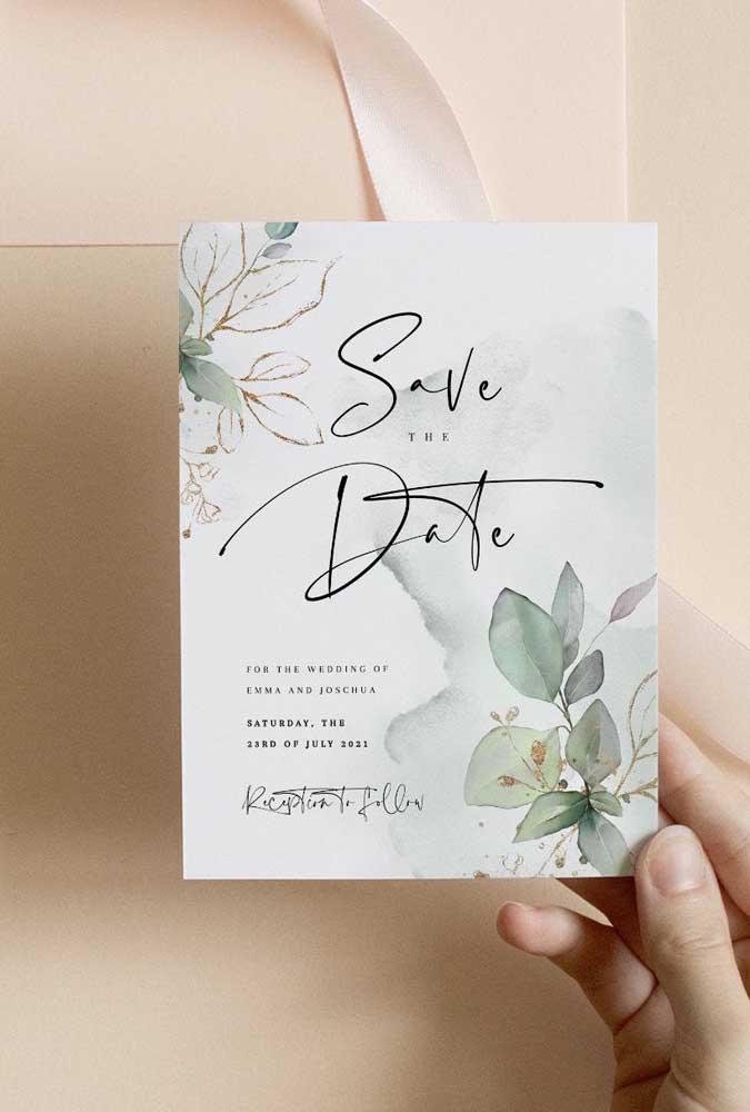 O efeito aquarelado e as flores delicadas impressas no Save the date revelam um casamento elegante e moderno