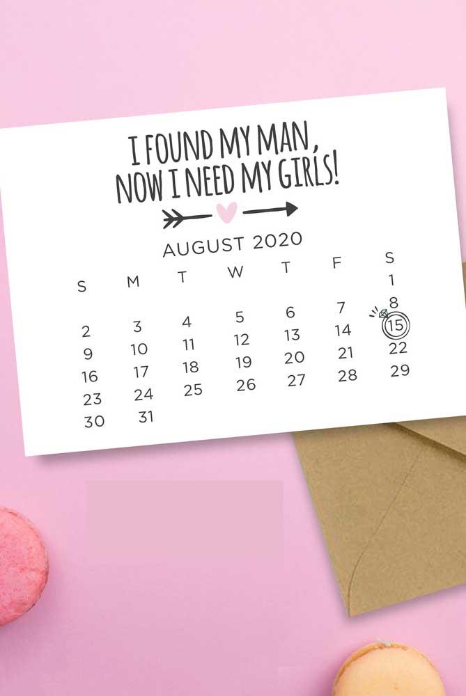 Um calendário simples e personalizado pode ser a solução para o seu Save the date