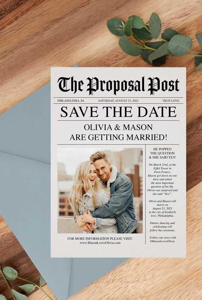Transforme o seu Save the date em notícia de jornal!