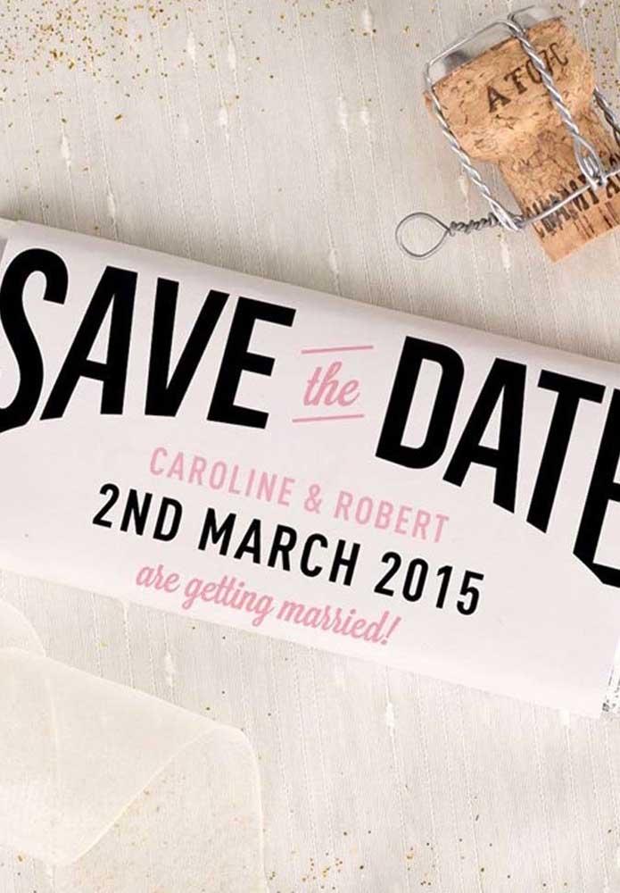 O nome dos noivos, a data e o motivo do evento: são essas as principais informações do Save the date