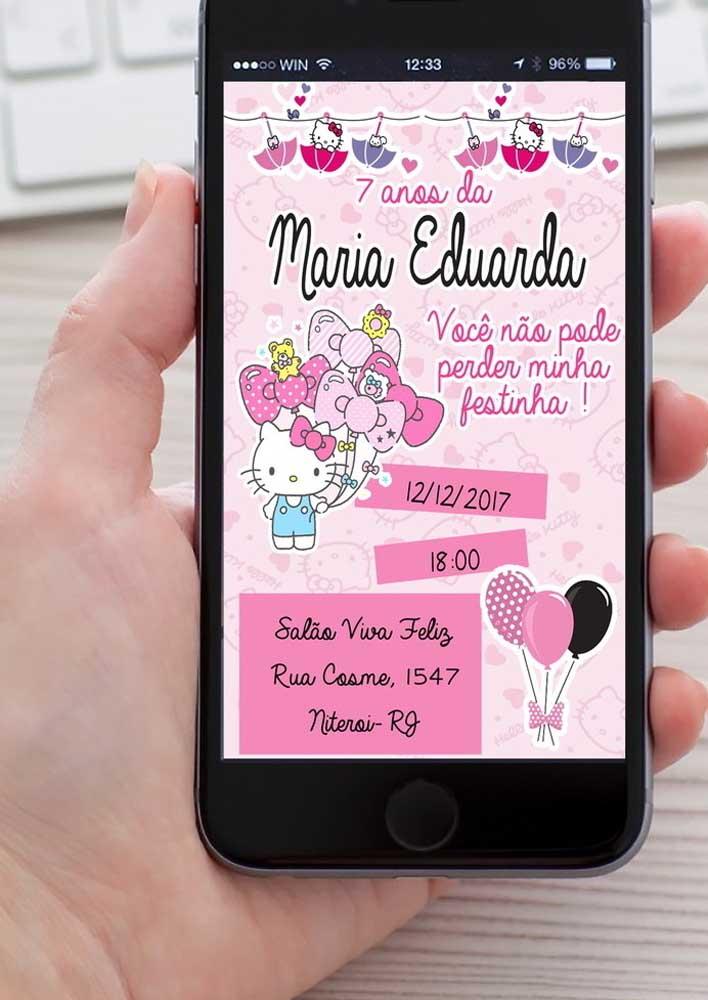 O convite Hello Kitty pode ser feito impresso, mas não deixe de enviar também o modelo digital.