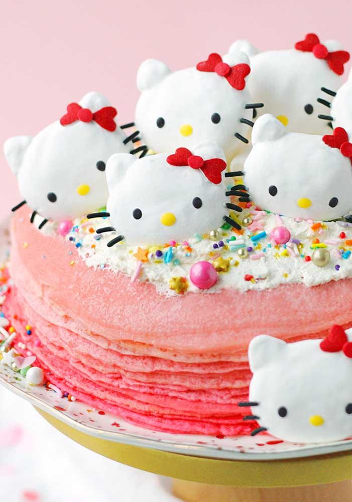 Olha o que você pode colocar no topo de bolo Hello Kitty.