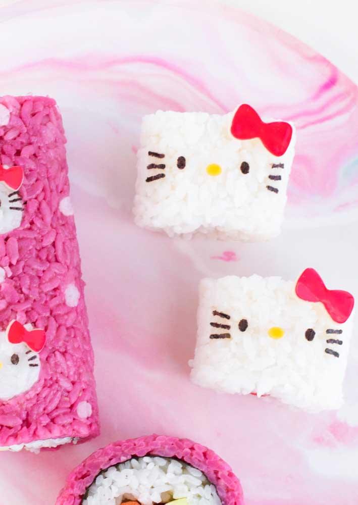 Como a Hello Kitty é uma personagem japonesa, nada melhor do que fazer uma festa com comidas japonesas.