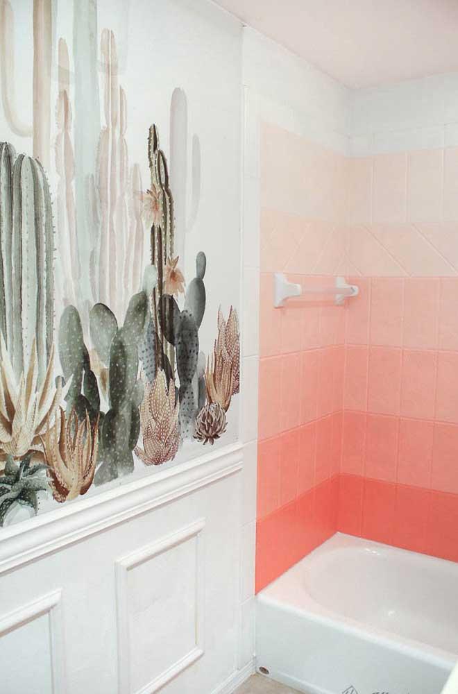 Degradê em tom de rosa para esse banheiro