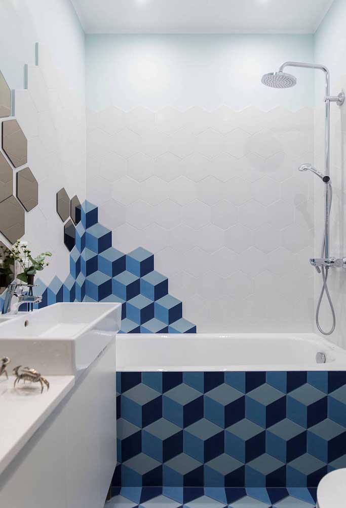 Cores e formas variadas estampam esse azulejo em formato hexagonal