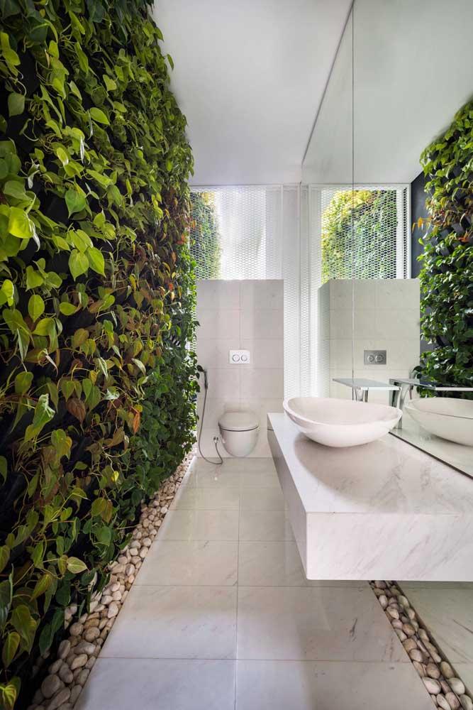 Muro inglês natural no banheiro: ar fresco e ambiente decorado