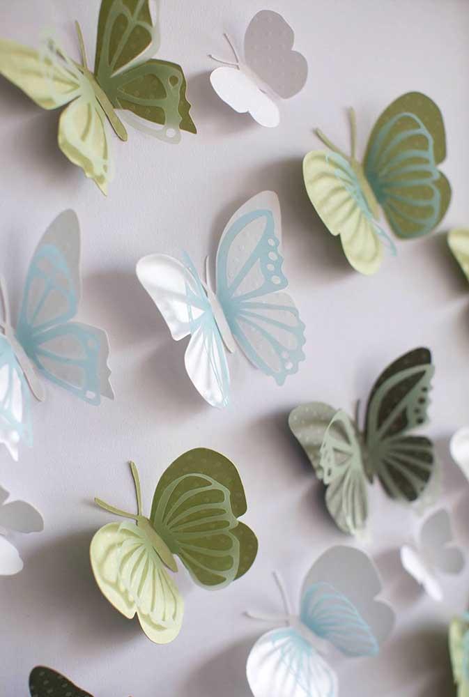 Borboletas de papel vazada e com efeito 3D. Coloque-as na parede e crie movimento na decoração