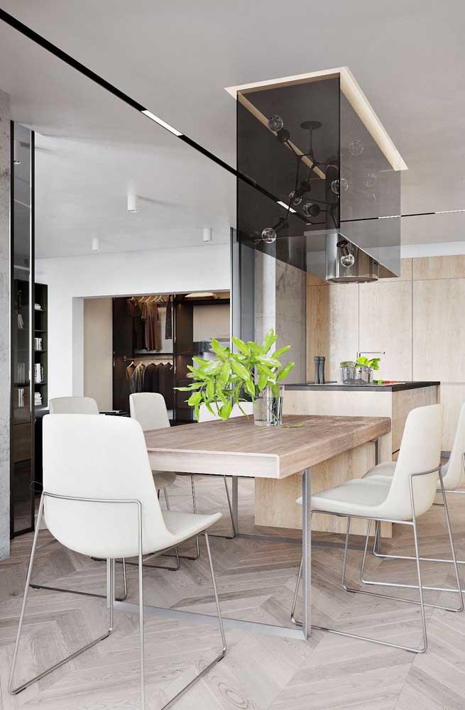 Cozinha americana integrada com a sala de jantar: solução para os pequenos espaços