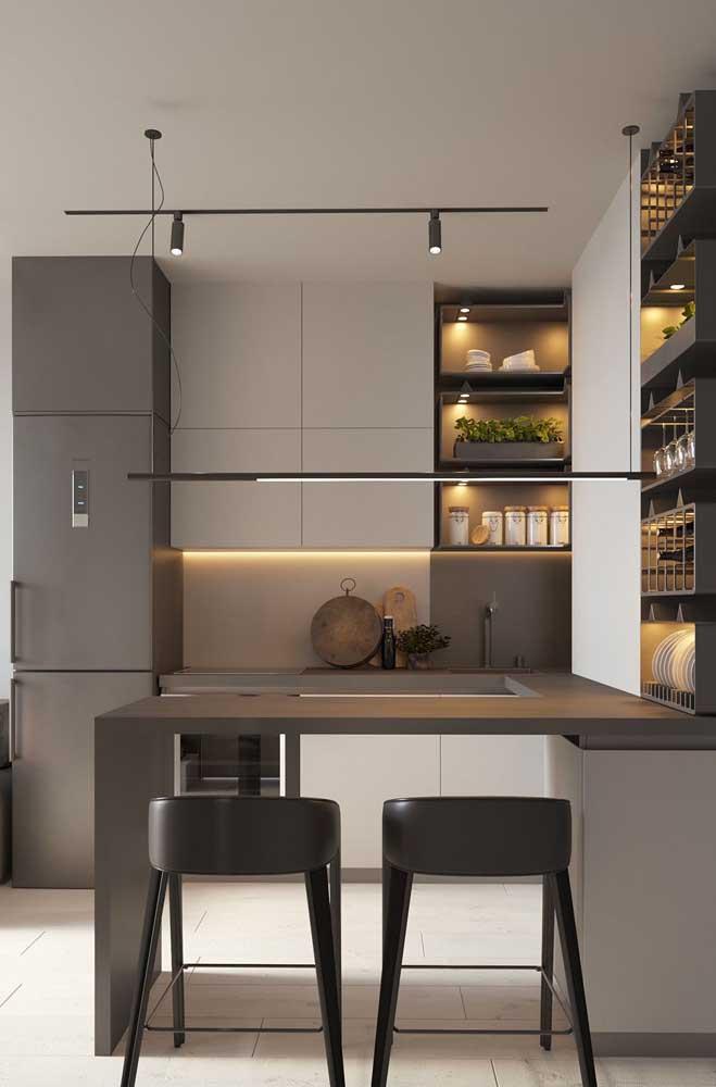 Projeto especial de iluminação para a cozinha americana pequena